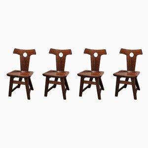 Oak Chairs, 1950s, Set of 4