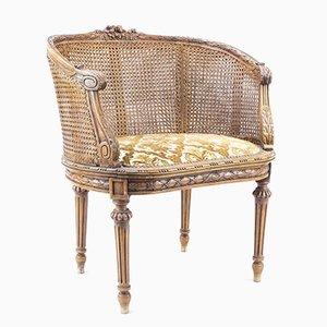 Antiker Bergère Stuhl aus Schaffoden im Louis XVI Stil aus natürlicher Buche, 1900er