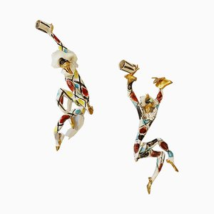 Commedia Dell Arte Hand Ceramic Wall Sconces by Otello Rosa for San Polo Venezia, 1960s, Set of 2