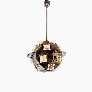 Vintage Chromed Metal and Glass Ceiling Lamp by Oscar Torlasco, Italy, 1960s