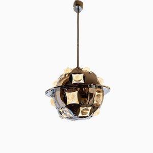 Vintage Deckenlampe aus verchromtem Metall & Glas von Oscar Torlasco, 1960er