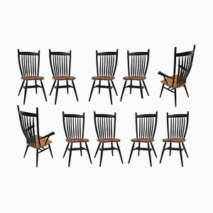 German Handcrafted Studio Oak Bent Chairs by Fabian Fischer, 2019, Set of 10