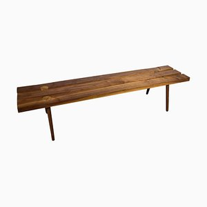 Studio Slat Bench in Walnut and White Oak Inlays by Michael Rozell, USA, 2020