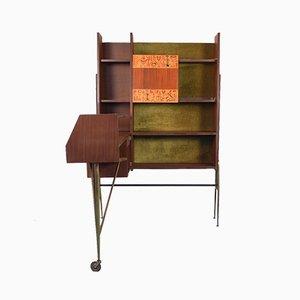 Mobile bar ad angolo vintage in legno e ottone, anni '60