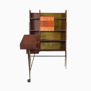 Vintage Wood and Brass Corner Bar Cabinet, 1960s