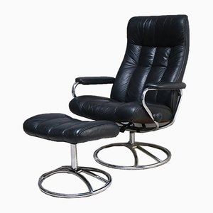 Norwegian Reclining Swivel Lounge Chair and Ottoman Set from Ekornes, 1960s