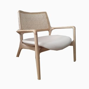MAD Lounger in Cream Leather & Solid Braided Beech by Jader Almeida for Sollos