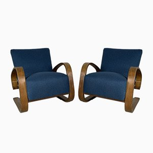 Walnut Armchairs by Miroslav Navratil, 1950s, Set of 2