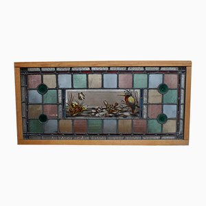 Antique Victorian Leaded Stained Glass Overhead Window Panel