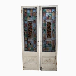 Antique Victorian Leaded Stained Glass Internal Doors, Set of 2