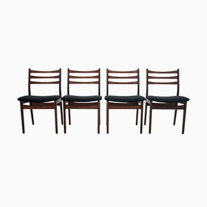 Danish Ladder Back Dining Chairs, 1960s, Set of 4