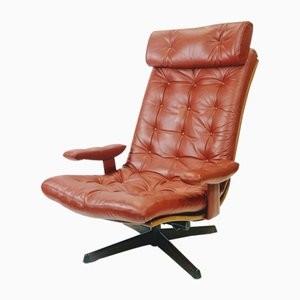 Leather Swivel Lounge Chair by Göte Design, Nässjö, 1960s
