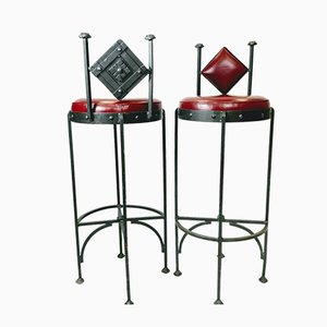 Vintage Hand Wrought Iron and Leather Barstools, 1970s, Set of 2