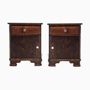 Wooden Nightstands, 1950s, Set of 2
