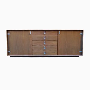 Chestnut Sideboard with Solid Metal Handles from Saporiti, 1970s