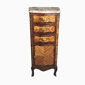 Louis XV Style Storage Cabinet with Marble Top and Bronze Handles, 1930s