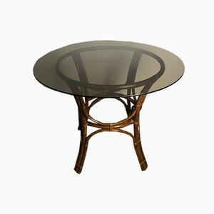 Vintage Bamboo Round Dining Table with Smoked Glass Top, 1970s