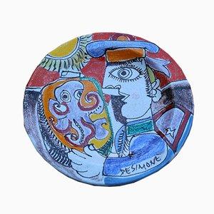Keramik Teller von Giovanni de Simone, 1960er