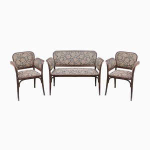 Antique Vienna Secession Living Room Set by Otto Wagner for Thonet, Austria, Set of 3