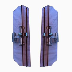 Italian Pink Steel Sconces from Veca, 1960s, Set of 2