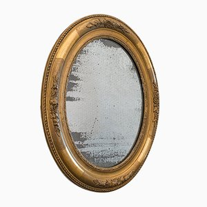 Antique Georgian English Gilt Gesso and Mercury Plate Oval Mirror, 1800s
