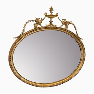 Antique Victorian English Gilt Gesso and Glass Oval Mirror, 1890s