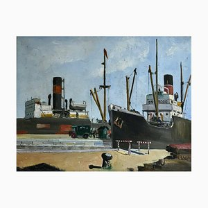 Art Deco View of a Port Oil Painting by Wim Bosma, 1935