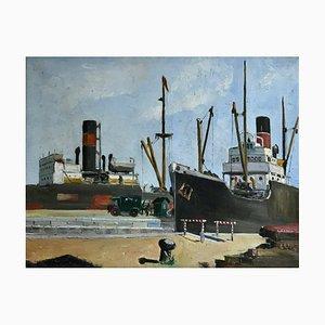 Peinture à l'Huile View of a Port Artistique par Wim Bosma, 1935