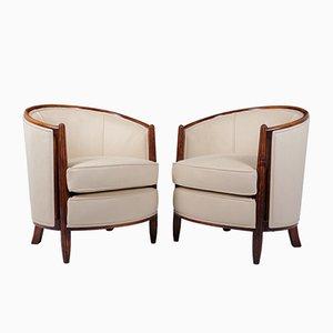 Französische Art Deco Armlehnstühle, 1930er, 2er Set