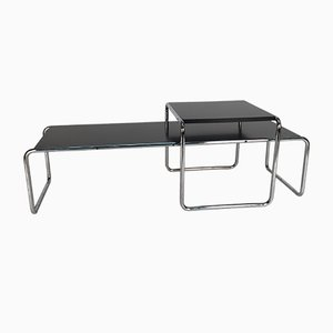 Black Laminated Wood and Steel Laccio Side Tables by Marcel Breuer for Knoll Inc. / Knoll International, 1970s, Set of 2