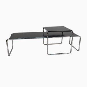 Mesas auxiliares Laccio en negro de madera laminada y acero de Marcel Breuer para Knoll Inc. / Knoll International, años 70. Juego de 2