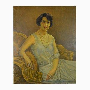 Großes Art Deco Portrait Ölgemälde von Robert Leblond