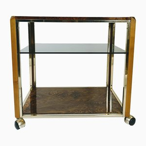 Lacquered Poplar Root and Brass Trolley with Smoked Glass Shelf, 1970s