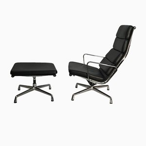Model EA 222 Swivel Lounge Chair and Model EA 223 Ottoman Set by Charles & Ray Eames for Vitra, 1990s