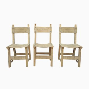 Vintage Solid Oak Dining Chairs, 1950s, Set of 6