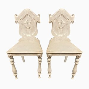 Antique Painted Hall Chairs, 1870s, Set of 2