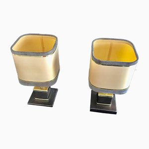 French Brass and Alcantara Table Lamps by Willy Rizzo, 1970s, Set of 2