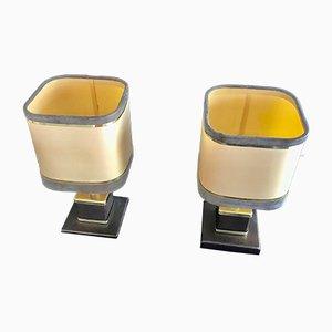 Lámparas de mesa francesas de latón y alcantara de Willy Rizzo, años 70. Juego de 2