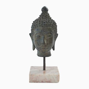 Bronze Head of Buddha Sculpture, 1950s