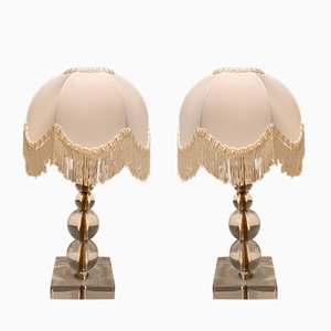 Vintage Glass Table Lamps, 1970s, Set of 2