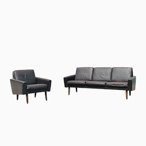 Mid-Century Danish Lounge Chair and 3-Seat Sofa, 1960s, Set of 2