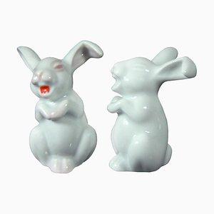 Deutsche Porzellan Kaninchen Figuren von Rosenthal, 1960er, 2er Set