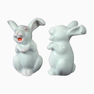 German Porcelain Rabbit Figurines from Rosenthal, 1960s, Set of 2