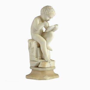 Antike Italienische Skulptur eines Jungen aus Marmor im Stil von Canova