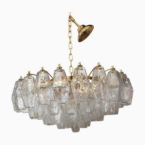 Lámpara de araña Poliedro de cristal de Murano 24k dorado transparente de Italian Light Design