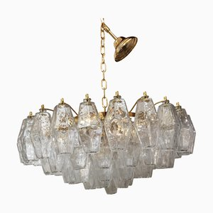 Transparent Gold 24k Murano Glass Poliedro Chandelier from Italian Light Design