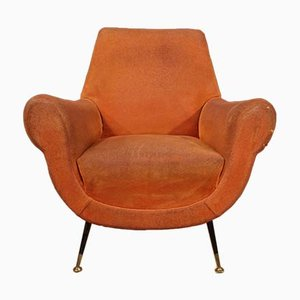 Italian Orange Fabric Armchairs, 1960s, Set of 2