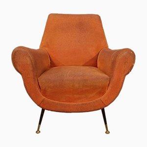 Italienische Armlehnstühle mit orangefarbenem Bezug, 1960er, 2er Set
