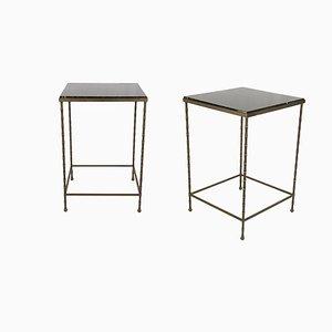 Beistelltische aus schwarzem Marmor & Messing, 1950er, 2er Set