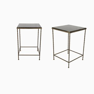 Black Marble and Brass Side Tables, 1950s, Set of 2